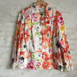 Coldwater Creek Floral Career Blazer Jacket